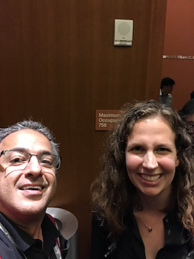 Salar Rahmanian meets Rachel Thomas after keynote at PyBay 2018